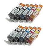 2x Sets of 5 CLI526 Compatible Ink Cartridges with chip. (10 CARTRIDGES!). Multipack includes 2x PGI525 (PGI-525PGBK) Black & 2x CLI526 (CLI-526BK, CLI-526C, CLI-526M, CLI-526Y) Black, Cyan, Magenta, & Yellow Compatible Ink Cartridges for Canon PIXMA iP4