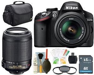Nikon D3200 24.2MP Digital SLR Camera (Black) with 18-55mm f/3.5-5.6G AF-S DX VR Nikkor Zoom Lens + AF-S DX VR Zoom-NIKKOR 55-200mm f/4-5.6G IF-ED Package 12