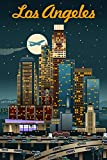 Los Angeles, California - Retro Skyline (9x12 Art Print, Wall Decor Travel Poster)
