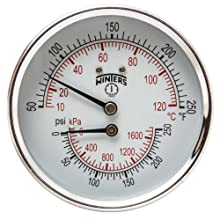"Winters TTD Series Steel Dual Scale Tridicator Thermometer with 2"" Stem, 0-250psi/kpa, 3"" Dial Display, ±3-2-3% Accuracy, 1/2"" NPT Back Mount, 50-250 Deg F/C"