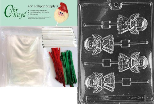 Cybrtrayd 45stK50C-C106 Angel Lolly Christmas Chocolate Mold with Lollipop Kit and Molding Instructions, Includes 50 Lollipop Sticks, 50 Cello Bags, 25 Red and 25 Green Twist Ties