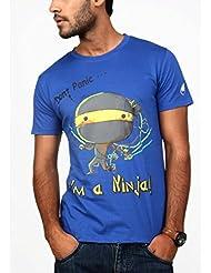 Paani Puri Men's Round Neck Cotton T-Shirt (Royal Blue) - B00N1NGINQ
