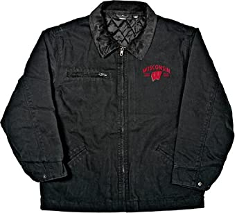 NCAA Wisconsin Badgers Tradesman Brushed Canvas Zip Front Workwear Jacket Mens by Old Varsity