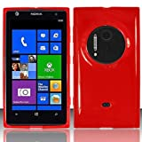 LF Red TPU Gel Case Cover Lf Stylus Pen and Wiper For AT&T Nokia Lumia 909 Elvis / EOS
