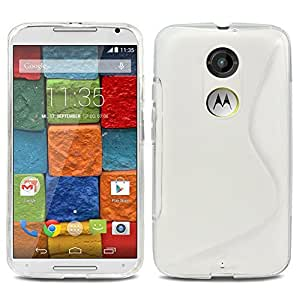 Evecase Moto X (2nd Gen.) Case, S-LINE Slim Fit Flexible TPU Case for Motorola Moto X (2nd Gen./ 2014 Edition) (AT&T) - Frosted Clear