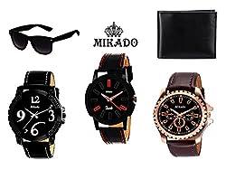 Combo Watches for Men's, Men's / Boy's wrist watches combo with Wallet And Sunglass for Men's / Boy's