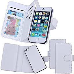 iPhone SE Case, Juzi® Wallet Purse iPhone 5S 5 Case Leather Flip Cellphone Holder Case - Detachable Magnetic Cover with Lanyard Wrist Strap for iPhoneSE iPhone5s (White)