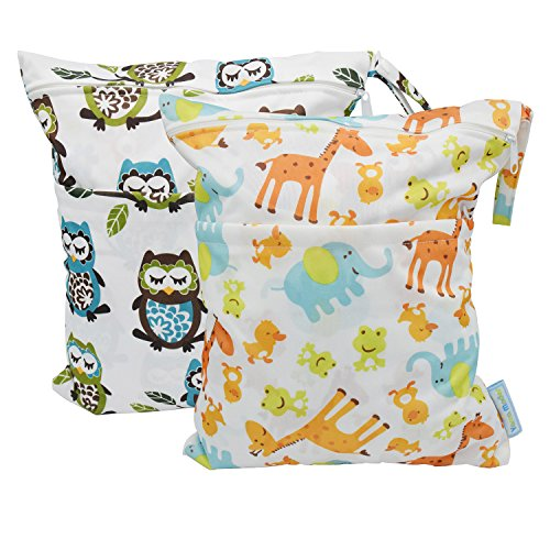 Yarra Modes 2 pcs Baby Wet and Dry Cloth Diaper Bags (Giraffeand Owls)