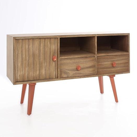Mobile da TV naturale rame legno e Mindi nordico 126x 42x 37–kulunka Deco