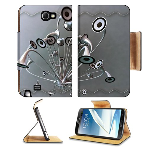 Variety Silver Metallic Speaker Design Samsung Galaxy Note 2 N7100 Flip Case Stand Magnetic Cover Open Ports Customized Made To Order Support Ready Premium Deluxe Pu Leather 6 1/16 Inch (154Mm) X 3 5/16 Inch (84Mm) X 9/16 Inch (14Mm) Luxlady Cover Profess