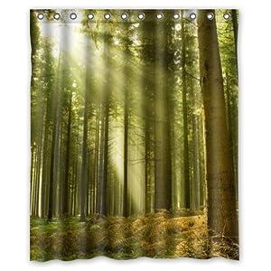 Green Forest Sunshine Mildew Resistant Theme Custom Polyester Waterproof Bath