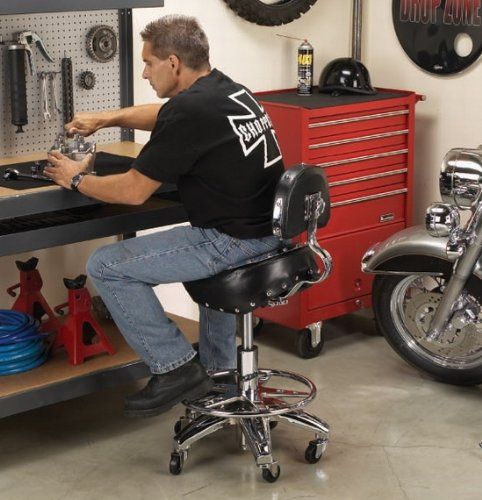 Bench stool chair chrome seat mechanics shop pool biker for 360 the colour bar salon