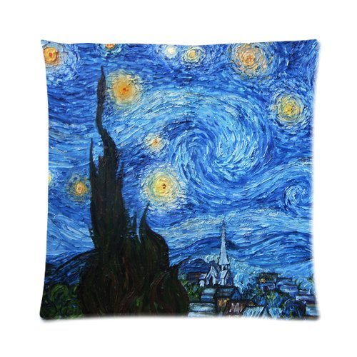 Butuku Great Artists Vincent Van Gogh The Starry Night Custom Personalized Zippered Square Pillow Case 16X16 (One Side) front-703653