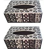 The ARTITUDE Multi Colour Handpainted Plywood Tissue Paper Box Set Of 2 Box_Design6