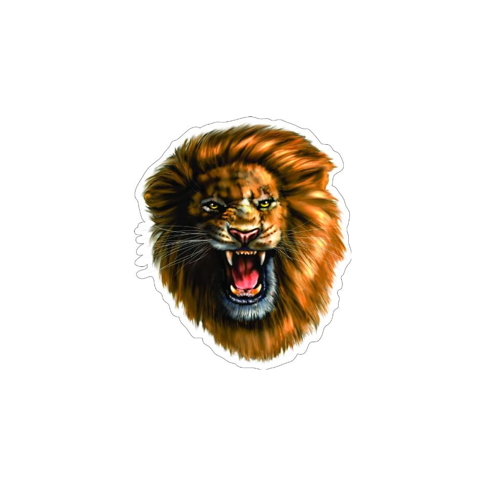 12 ROARING LION Printed engineer grade reflective vinyl decal sticker for any smooth surface such as windows bumpers laptops or any smooth surface.