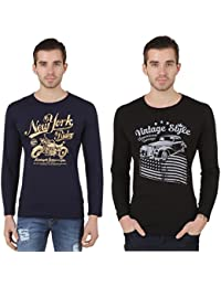 Konners Full Sleeves T Shirts For Men, Printed Tshirts Combo Pack Of 2, Navy Blue And Black