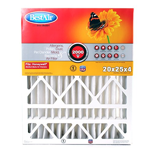 BestAir HW2025-11R Honeywell Pleated Filter, 20 by 25 by 4""