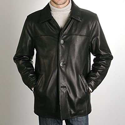 BGSD Men's New Zealand Lambskin Leather Car Coat - Regular, Tall, Big, Big & Tall