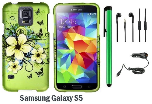 Samsung Galaxy S5 Premium Pretty Design Protector Hard Cover Case (2014 March Released; Carrier: Verizon, At&T, T-Mobile, Sprint) + 3.5Mm Stereo Earphones + Car Charger + 1 Of New Assorted Color Metal Stylus Touch Screen Pen (Apple Green Butterfly Flower)