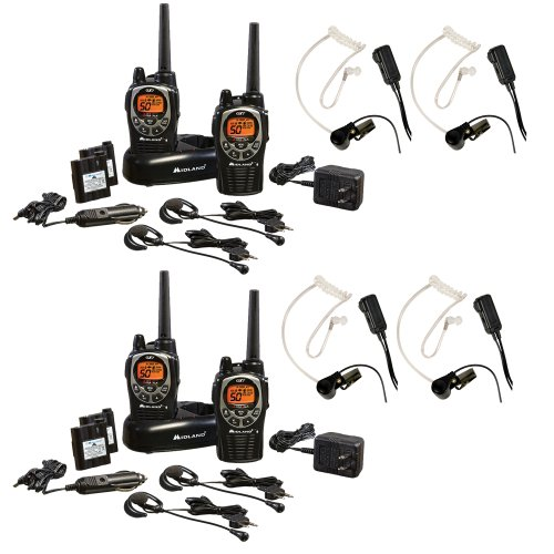 Midland Gxt1000Vp4 36-Mile 50-Channel Frs/Gmrs Two-Way Radio 2-Pair Bundle With 2Midland Transparent Security Headsets With Ptt/Vox