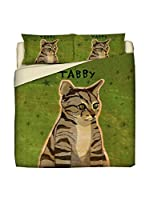 LITTLE FRIENDS by MANIFATTURE COTONIERE Juego De Funda Nórdica Tabby Cat (Verde)