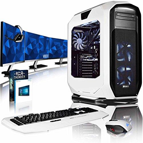 """VIBOX Rapture XR780-420 Komplett-PC Paket - 4,0GHz i7 10-Core Prozessor, GTX 1080, leistungsfähig, Wassergekühlter Desktop Gamer Computer mit Exklusiv WarThunder Spiel Gutschein, 3x Dreifach 27"""" Monitor, Roccat Tastatur, Gamer Mouse, Windows 10, Weiß Innenbeleuchtung, lebenslange Garantie* (3,0GHz (4,0GHz Turbo) Intel i7 6950X Extreme Broadwell 10-Core Prozessor, MSI NVIDIA GeForce GTX 1080 8GB ARMOR Grafikkarte, 64GB HyperX DDR4 2133MHz RAM, Samsung 1TB SSD, Corsair H100i GTX Wasserkühler)"""