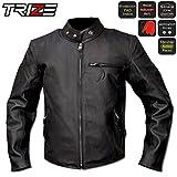 TRIZE レザージャケット JL01 本革 本皮 牛革 防風 ショートライダージャケット バイク用 パッド付属 革ジャン 革ジャケット黒 JL01 (L)