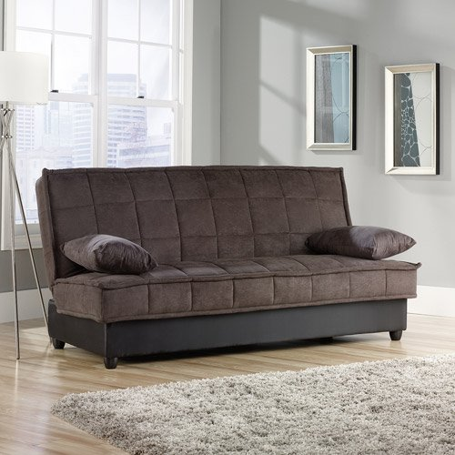 Convertible Comfy Sofa, Chocolate Microsuede. This Sleeper Sofa Is Perfect For Guests. The Stylish Convertible Sofa Has Storage Underneath and A Sturdy Wooden Frame. It Easily Converts Into A Bed - Approx Full Size. You'll Love Our Sleeper Sofas