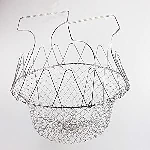 UniWey Chef Basket, Stainless Steel Foldable Steam Rinse Strain Fry Basket Strainer Net Kitchen Cooking Tool for Fried Food or Fruits