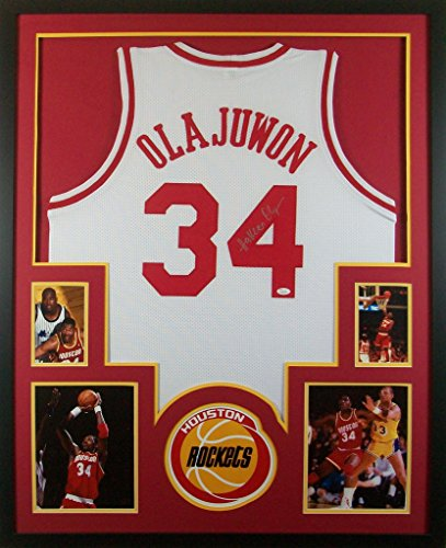 hakeem-olajuwon-framed-jersey-signed-jsa-coa-autographed-houston-rockets