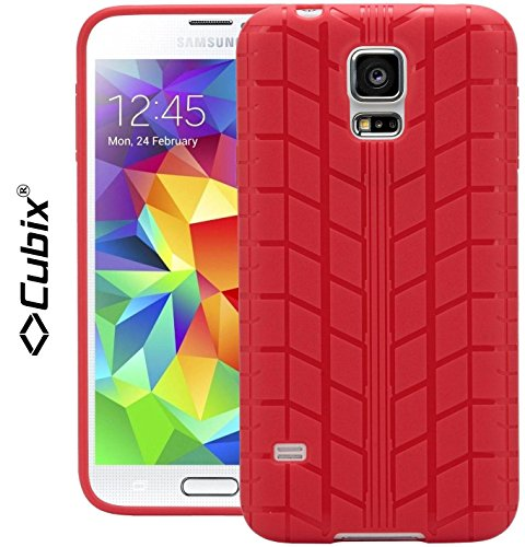 Samsung Galaxy S5 Case, [CUBIX] Tyre Tread Series Slim Fit soft Flip TPU Gel Skin case back Cover Soft Jacket for Samsung Galaxy S5 (Red)  available at amazon for Rs.349