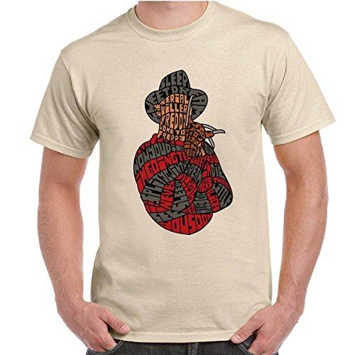 T-Shirt Da Uomo Maglia Maniche Corte Cotone Freddy Krueger Con Stampa Nightmare, Colore: Sabbia, Taglia: M