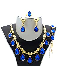 Beora Gold Plated Austrian Diamonds Blue Waterdrop Jewellery Set