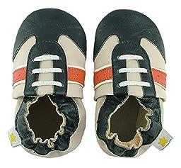 Ministar Boys Baby Infant Toddler Prewalker Leather Shoes - Beige, Navy & Orange - Large 12-18 mo.