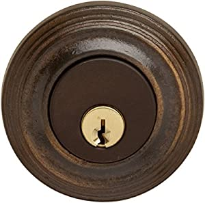 Deadbolt E0152 with plain knob, bronze, 2 3/8 inch backset - Building ...
