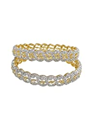 Sheetal Jewellery Silver & Golden Brass & Alloy Bangle Set For Women - B00TIH4494