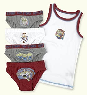 5 Pack - Younger Boys' Pure Cotton Toy Story Briefs & Vest Gift Set