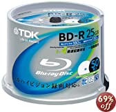 TDK 録画用ブルーレイディスク BD-R 25GB 1-4倍速 ホワイトワイドプリンタブル 50枚スピンドル BRV25PWB50PK