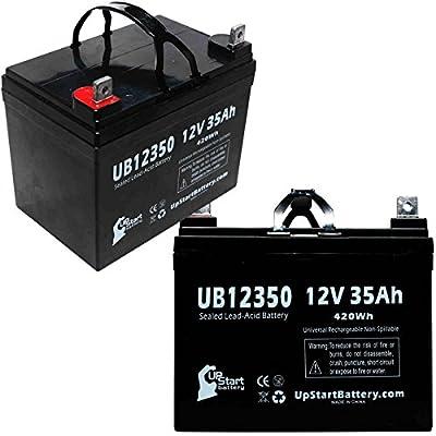 2x Pack - Wilderness Tarpon 100 Kayak Electric Trolling Motor Battery - Replacement UB12350 Universal Sealed Lead Acid Battery (12V, 35Ah, 35000mAh, L1 Terminal, AGM, SLA)