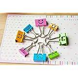 Pack of 40 Cute Lovely Smiling Face Spring-Loaded File Organizer Paper Holder Metal Binder Clips, Assorted Color