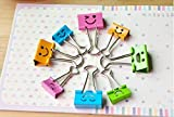 Pack of 40 Cute Lovely Smiling Face Spring-Loaded File Organizer Paper Holder Metal Binder Clips, Assorted Color