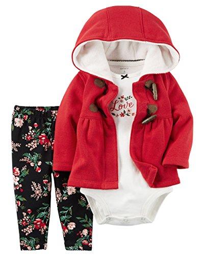 Carter's Baby Girls' 3 Piece Cardigan Set (Baby) - Red Riding Hood, 9 Months