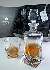 Quadro 3-Piece Spirit Decanter Set in Forever Crystal Satin-Lined Presentation Box