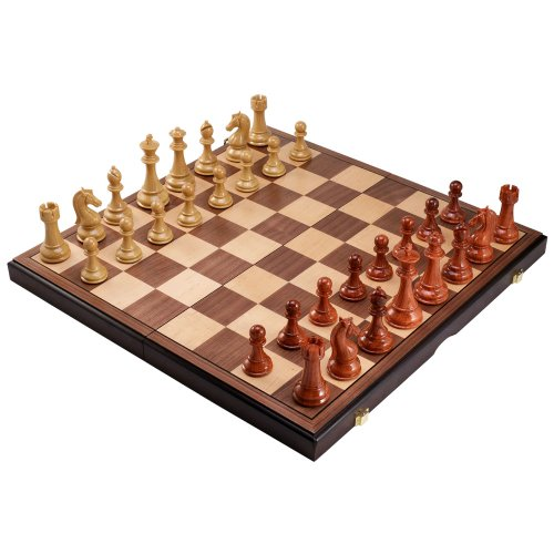 Abigail Chess Inlaid Wood Folding Board Game With Pieces