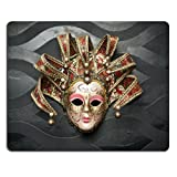MSD Natural Rubber Mousepad IMAGE ID: 27630256 Beautiful classical mask from Venice on black wall Carnival mask Venetian tradition