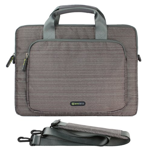 Evecase 14-Inch Classic Padded Briefcase Messenger Bag With Shoulder Strap And Handle For Laptop Notebook Ultrabook Chromebook Computer - Gray (Acer Asus Dell Hp Lenovo Samsung Sony Toshiba)
