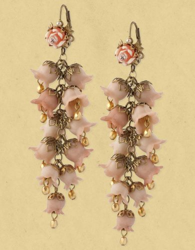 Michal Negrin Delicate Earrings Adorned with Vintage Flower and Hyacinth Bouquet - Special Ordered and Shipped by Genuvo within 2 to 3 Weeks