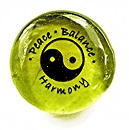 Peace Balance Harmony With Yin Yang Symbol Colored Glass New Age Imprinted Stones