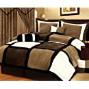 7 Pieces Black Brown And White Micro Suede Patchwork Comforter Size 90x92 Bedding Set Bed In A Bag Queen Size