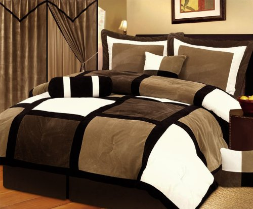 7 Pieces Brown White & Beige Micro Suede Patchwork Comforter Bed-In-A-Bag Set Washable Queen Size